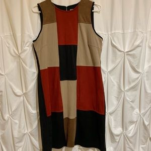Patchwork Sleeveless Midi Dress Sz 10